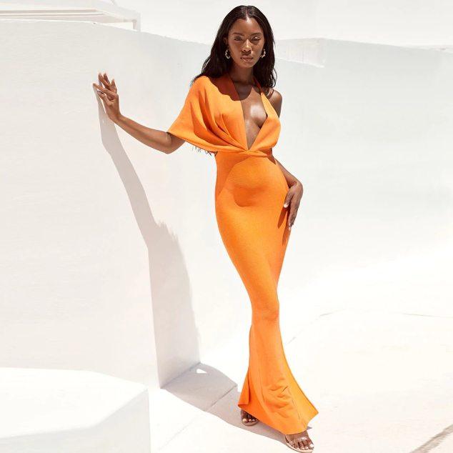 Stunning Tulip Glamour Orange Woman's Dress