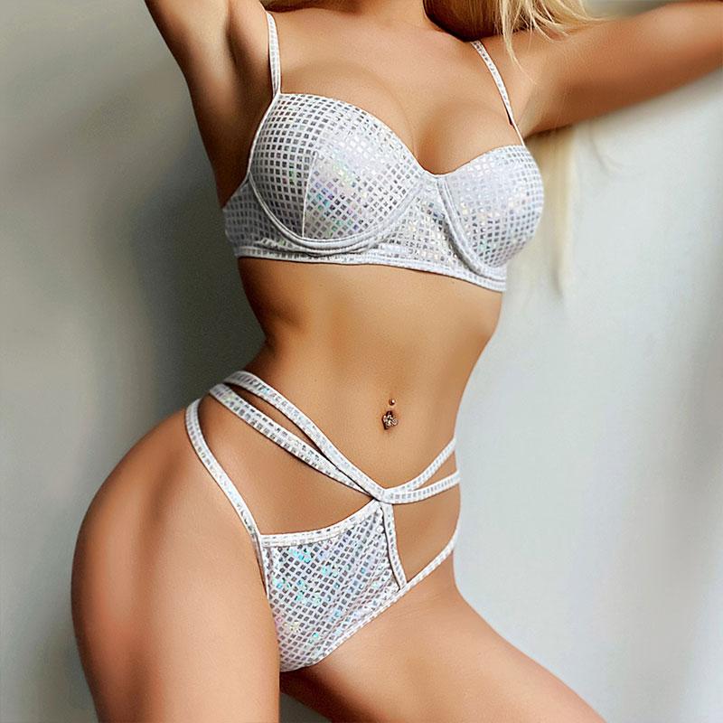 Pale silver bikini