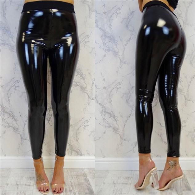 Patent Black PVC Leggings