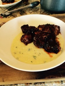 This was a first for me I made braised fresh farm pork short ribs with cheesy polenta