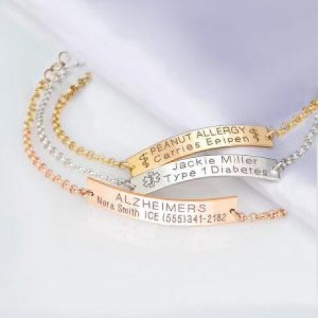 Medical ID Bracelet Women, Personalized Sterling silver, 14K Gold filled, Rose Gold Medical alert bracelets, Medic alert jewelry, $36