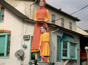 Statue in Frackville Pa... check out that creepy headless doll!!