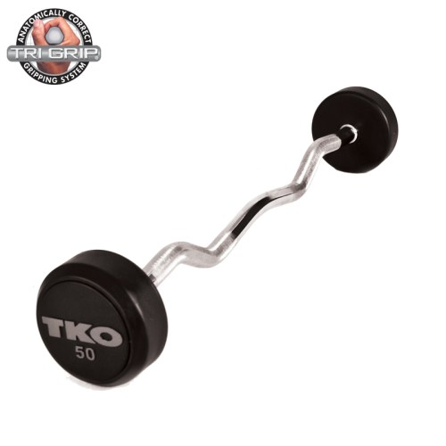 TKO Rubber Tri-Grip Curl Bar