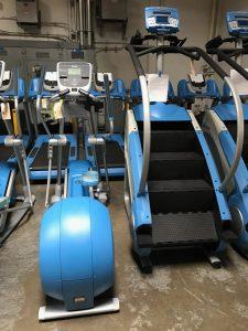 Custom powder blue frames on these treadmills