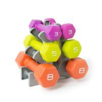 Tone Fitness Neoprene Coated Dumbbell Set with Rack, 32 lb