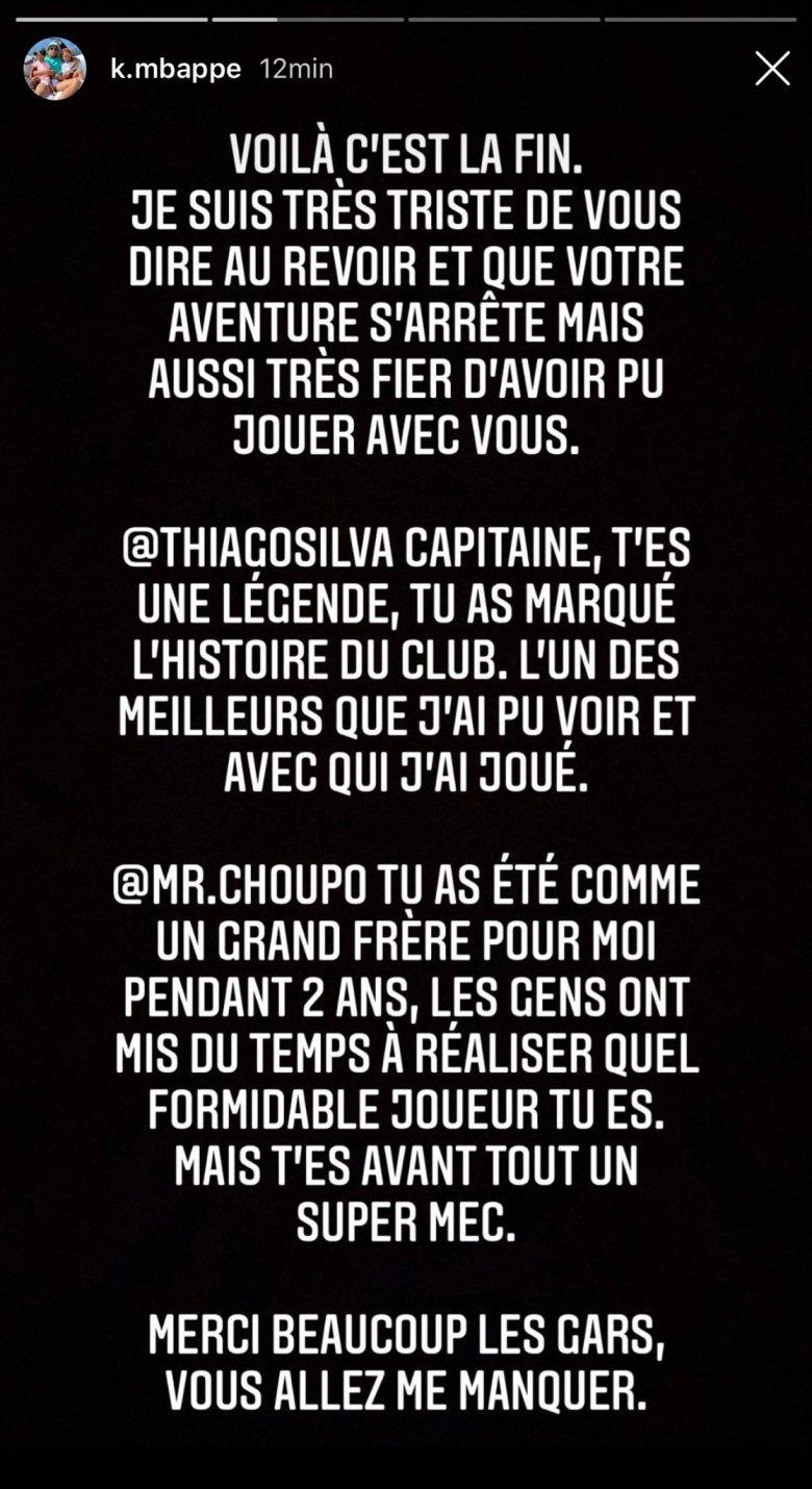 Mesajul lui Mbappe. Sursă foto: Instagram