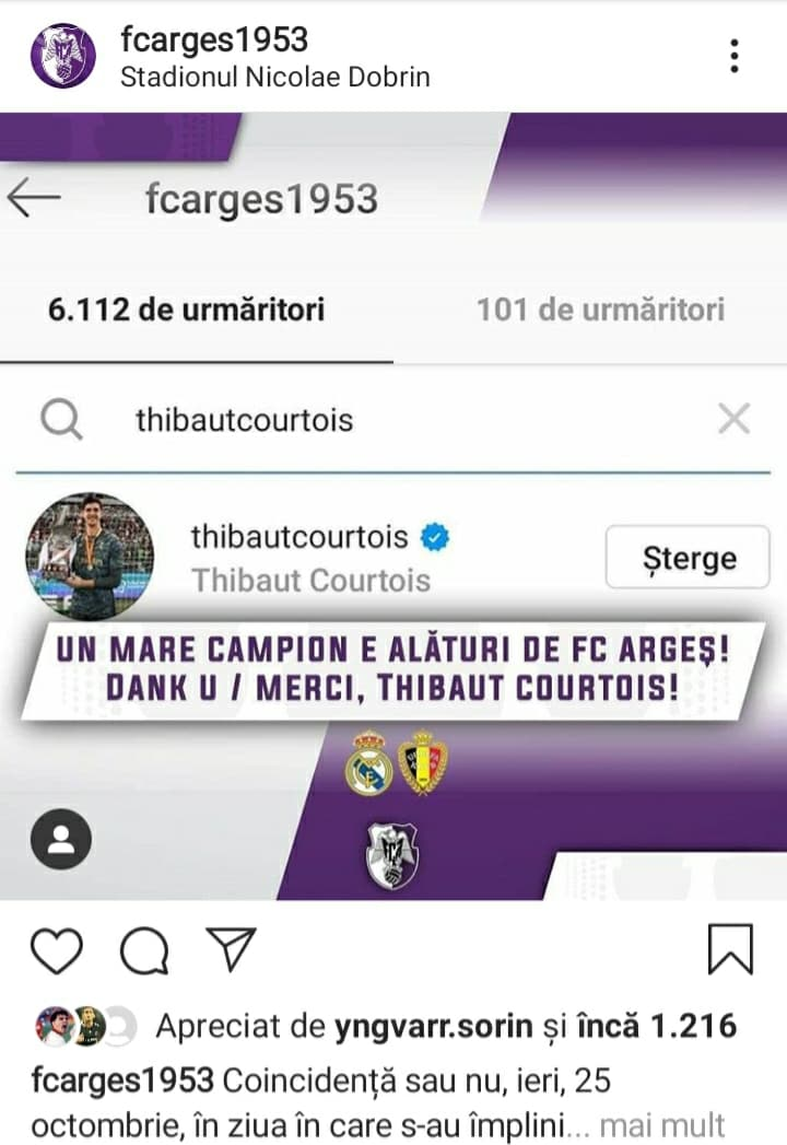 Thibaut Courtois urmărește FC Argeș. Sursă foto: Instagram