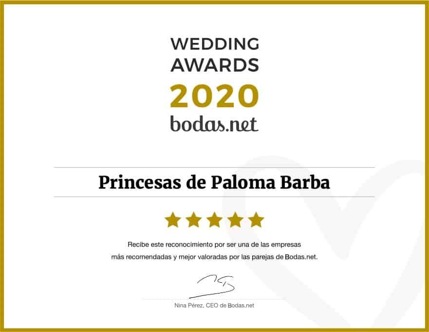 Wedding Awards 2020 por ser una de las empresas más recomendadas y mejor valoradas por las parejas en Bodas.net