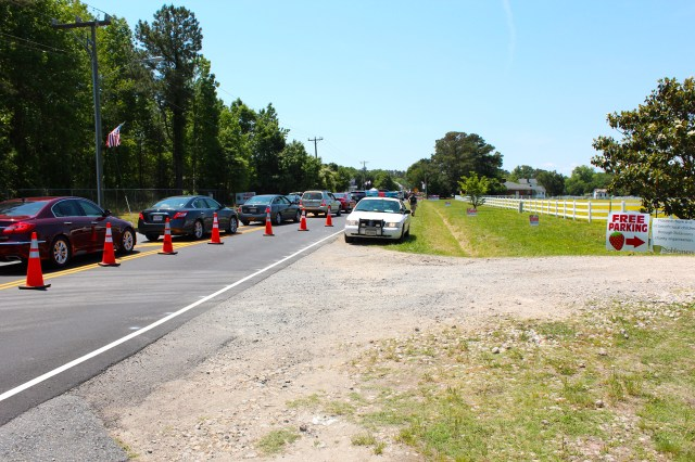 Cones keep Pungo Strawberry Festival traffic away from Back Bay Farms on Sunday, May 24, 2015. [John-Henry Doucette/The Princess Anne Independent News]