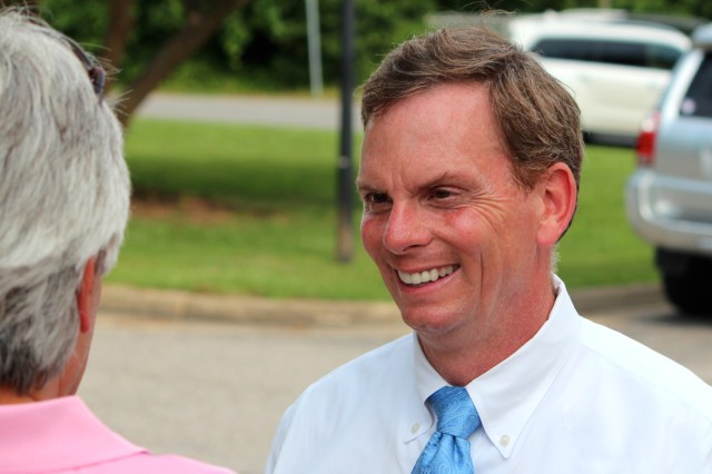 State Del. Bill DeSteph greets a supporter outside the Great Neck precinct on Tuesday, June 9, 2015. DeSteph won the GOP primary for the 8th Virginia Senate District. [John-Henry Doucette/The Princess Anne Independent News]