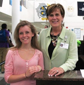 Kayla Iazzetta and Ocean  Lakes  High School Principal Cheryl Askew are shown at the school. [Janet Yarbrough Meyer/The Princess Anne Independent News]
