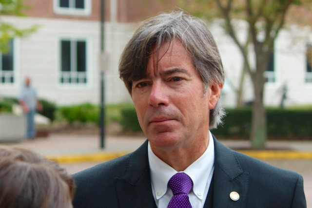Michael Doucette, the commonwealth's attorney in Lynchburg, speaks to reporters outside the Virginia Beach Circuit Court on Thursday, Nov. 5. He is the special prosecutor in the case. [John-Henry Doucette/The Princess Anne Independent News]