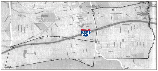 This mapshows the revised boundary of the Oceana Precinct. London Bridge Road is on the western border. I-264 is marked for reference. [City of Virginia Beach]