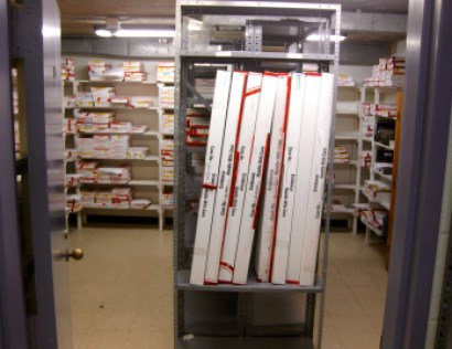 This photo provided by city police show a weapon room within the police department's property and evidence storage area. Each box contains a weapon. [Virginia Beach Police Department/Courtesy]