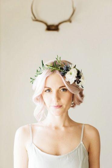 Short hair bride pastel pink