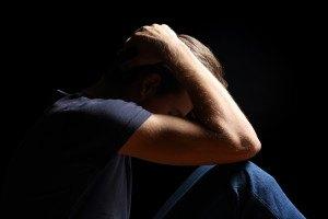 Depressed Teenager Man In Black