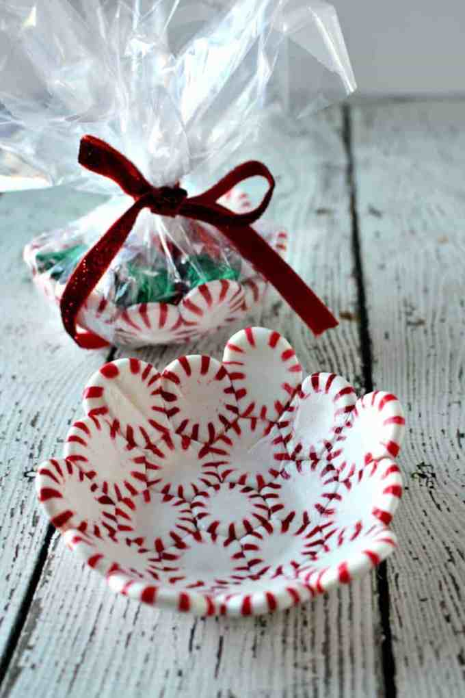 Peppermint Candy Bowl wrapped up as a gift with chocolate candy in it