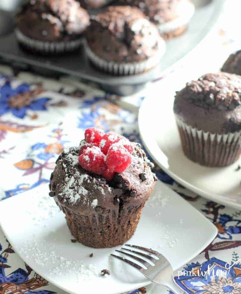 Chocolate raspberry breakfast muffins - easy to make and the most delicious treat!