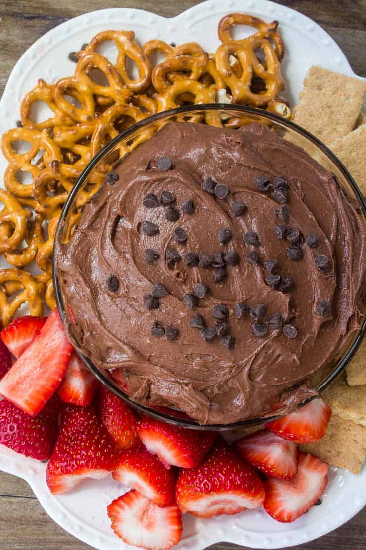 Chocolate brownie dip with pretzels and strawberries