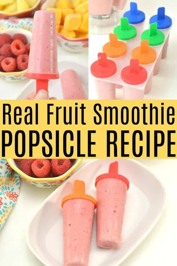 Real Fruit Smoothie Popsicle Recipe - raspberry mango and pineapple