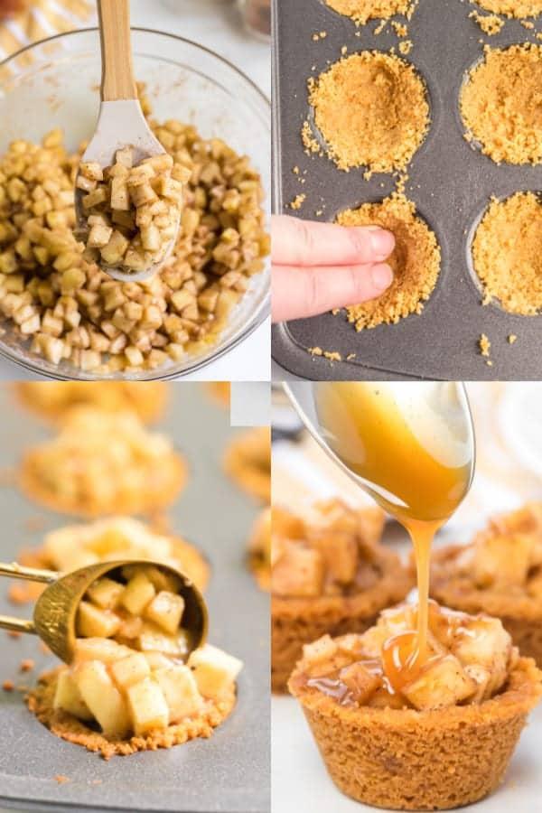 How to make caramel apple crisp bites