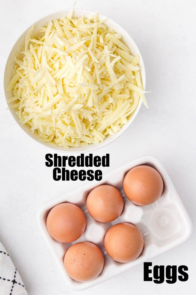 Chaffle Ingredients Eggs and Cheese