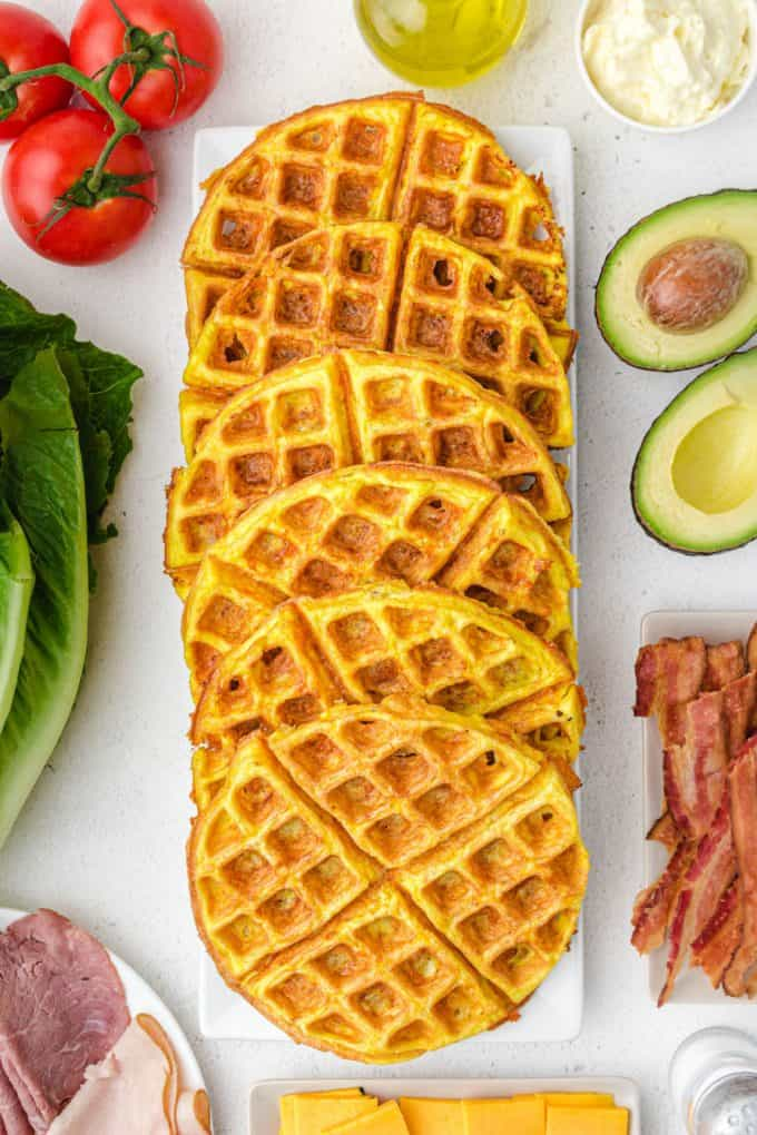 Chaffle waffles on a plate