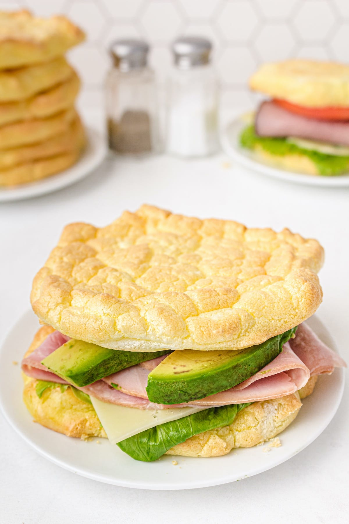 Cloud bread with avocado and ham