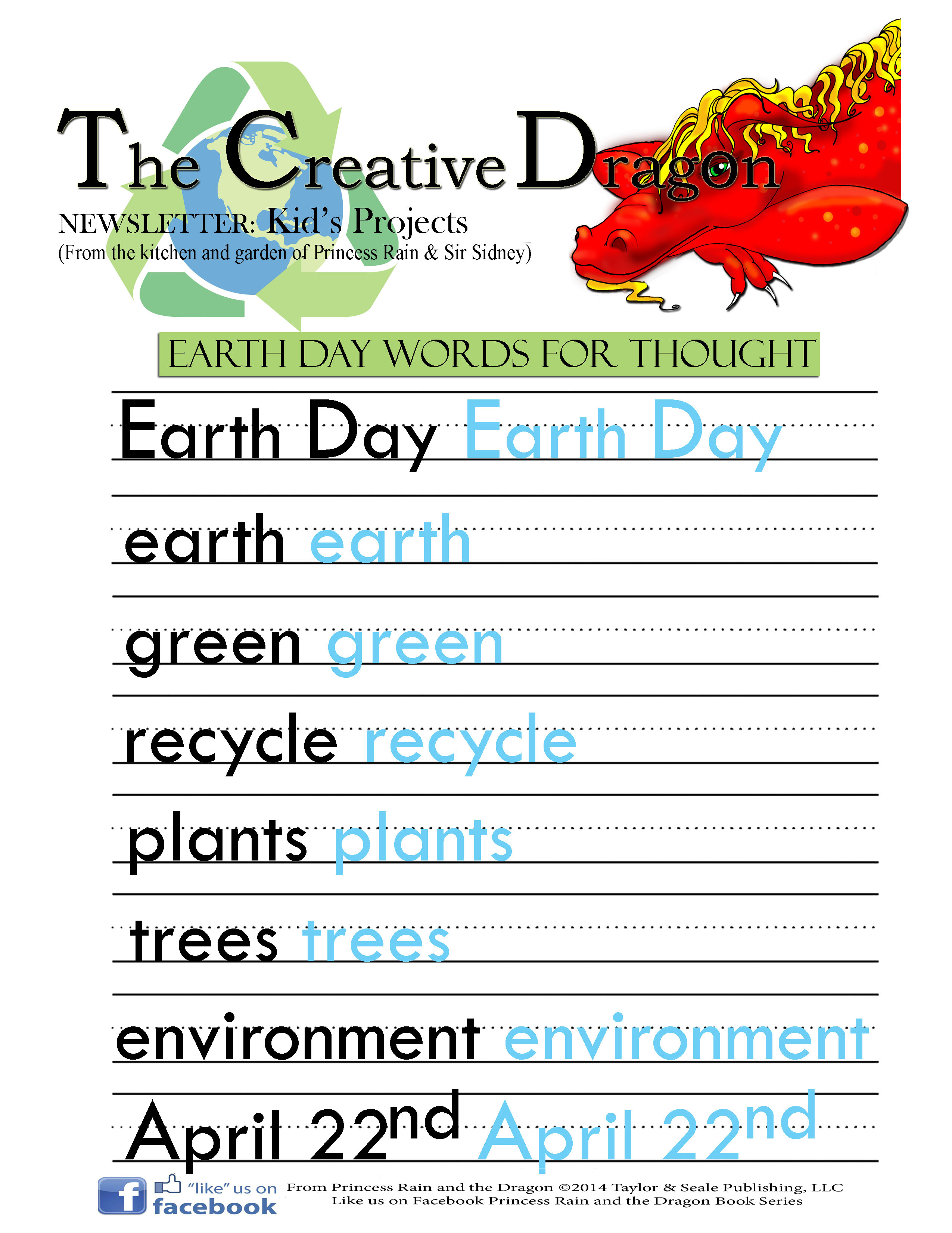 Earth Day Words Princess Rain And The Dragon