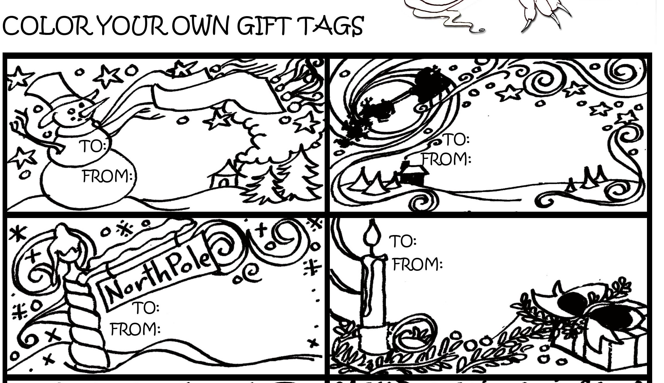 Color Your Own Holiday T Tags Princess Rain And The