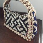 3 cowry shell and bead purse
