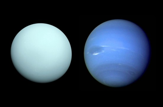 NASA is planning to visit Uranus (left) or Neptune.