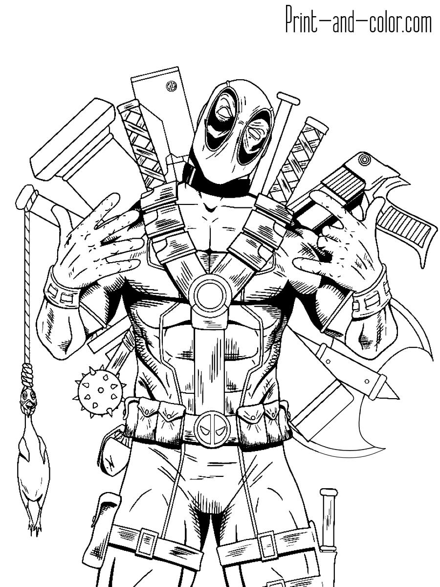 Deadpool coloring 4 full armed