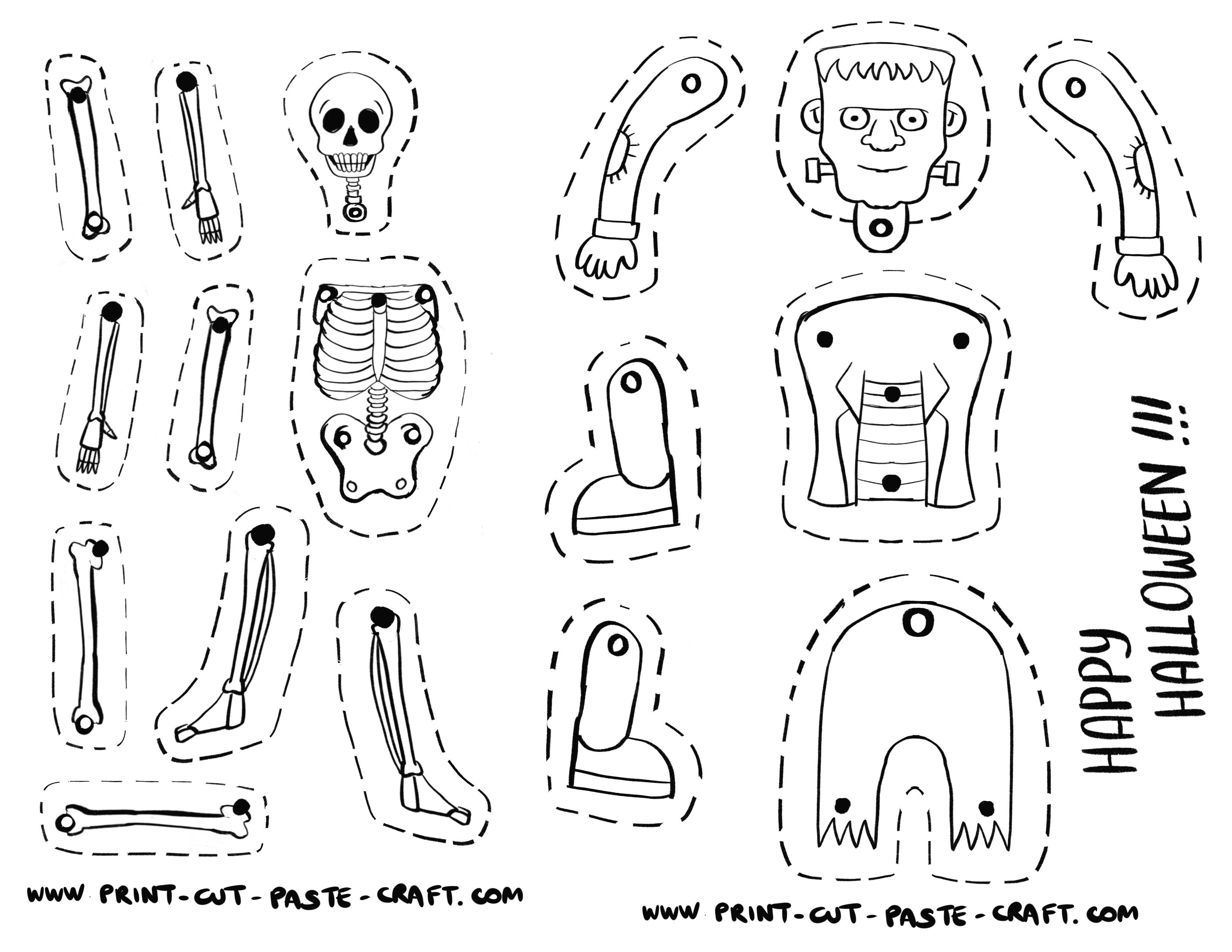 Free Printable Halloween Craft Dancing Skeleton And