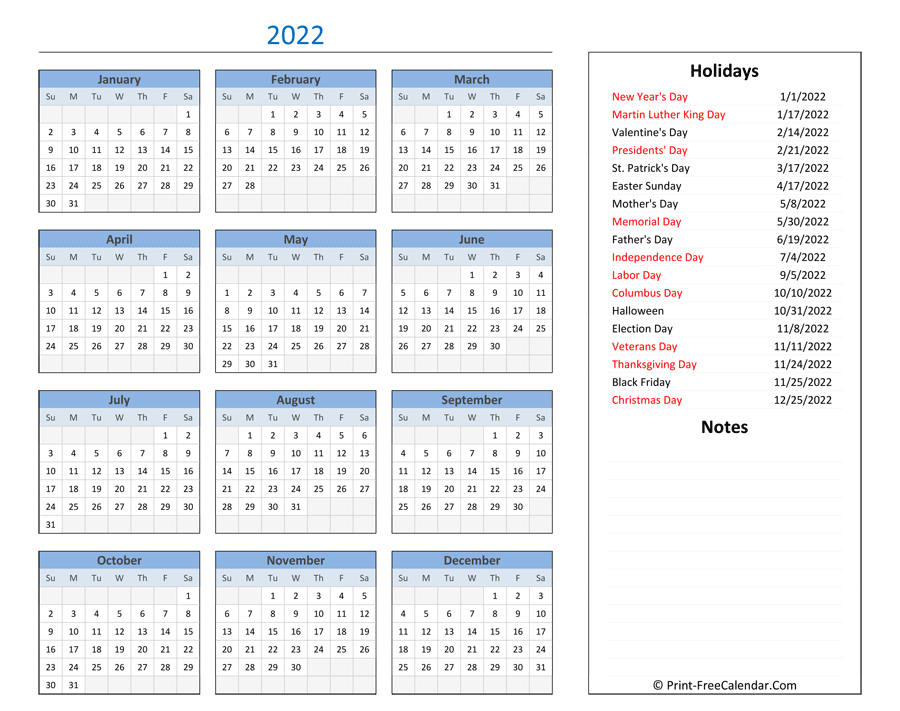 These include monthly calendars and even complete 2021 planners. Printable 2022 Calendar with Holidays and Notes