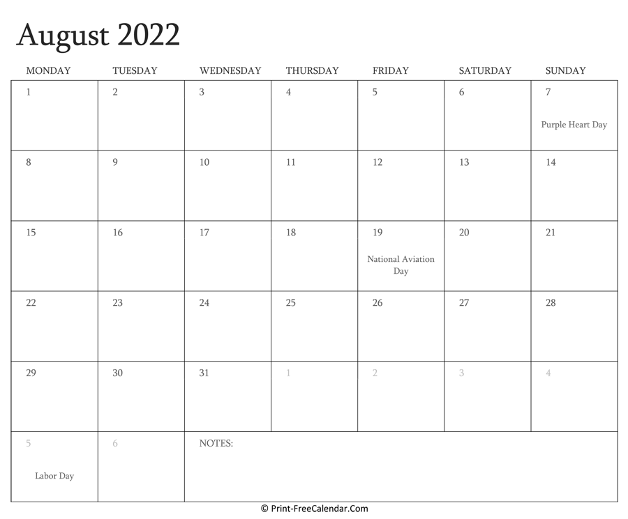 The spruce / lisa fasol these free, printable calendars for 2021 won't just keep you organized; Printable August Calendar 2022 with Holidays