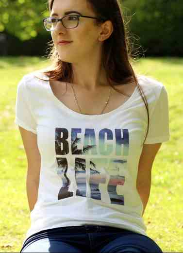 Girl in a printed t shirt