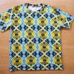 デカプリオリジナルTシャツ試作 後縫製の総柄プリントTシャツ