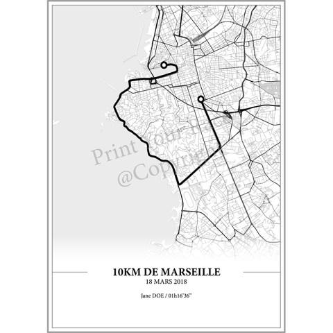 Aperçu de l'affiche réalisée en collaboration avec le cartographe représentant le tracé des 10KM de Marseille 2018