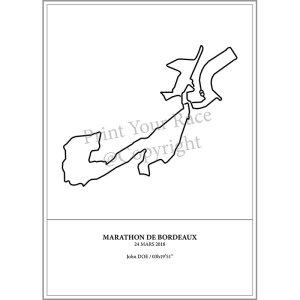 Aperçu de l'affiche représentant le tracé du marathon de Bordeaux 2018