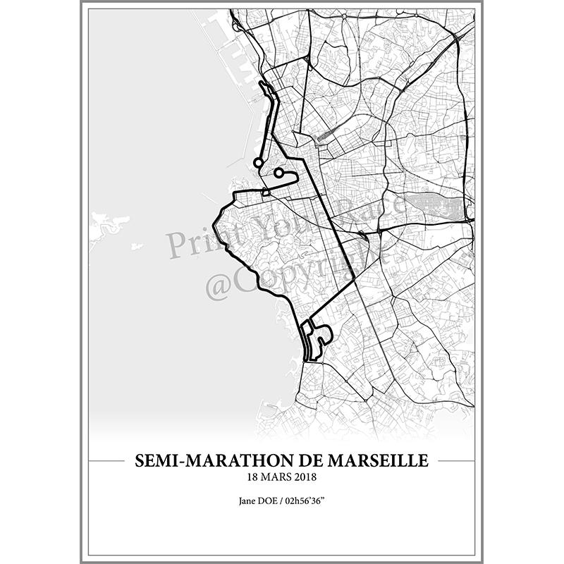 Aperçu de l'affiche réalisée en collaboration avec le cartographe représentant le tracé du semi-marathon de Marseille 2018