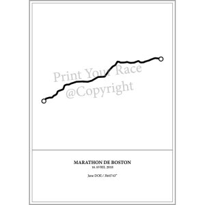 Aperçu de l'affiche représentant le tracé du marathon de Boston 2018 par Print Your Race