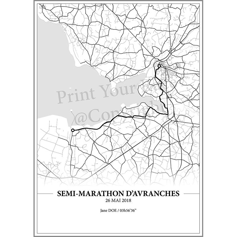 Aperçu de l'affiche réalisée en collaboration avec le cartographe représentant le tracé du semi marathon d'Avranches 2018 par Print Your Race