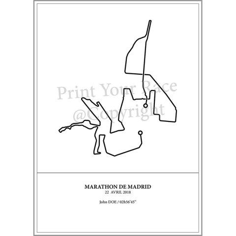 Aperçu de l'affiche représentant le tracé du marathon de Madrid 2018 par Print Your Race