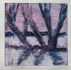 Willows Etching 1 winter sunset