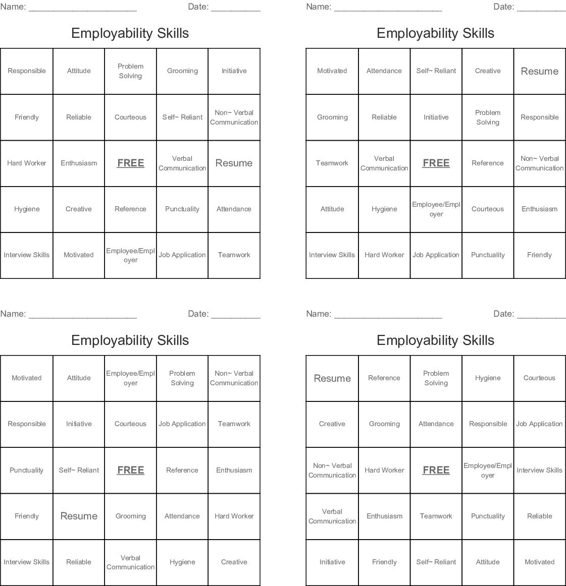 Employability Skills Bingo Cards