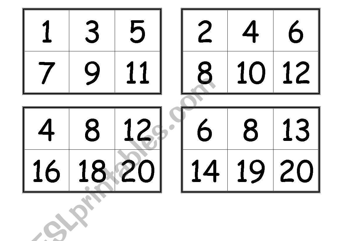 Numbers Bingo Cards