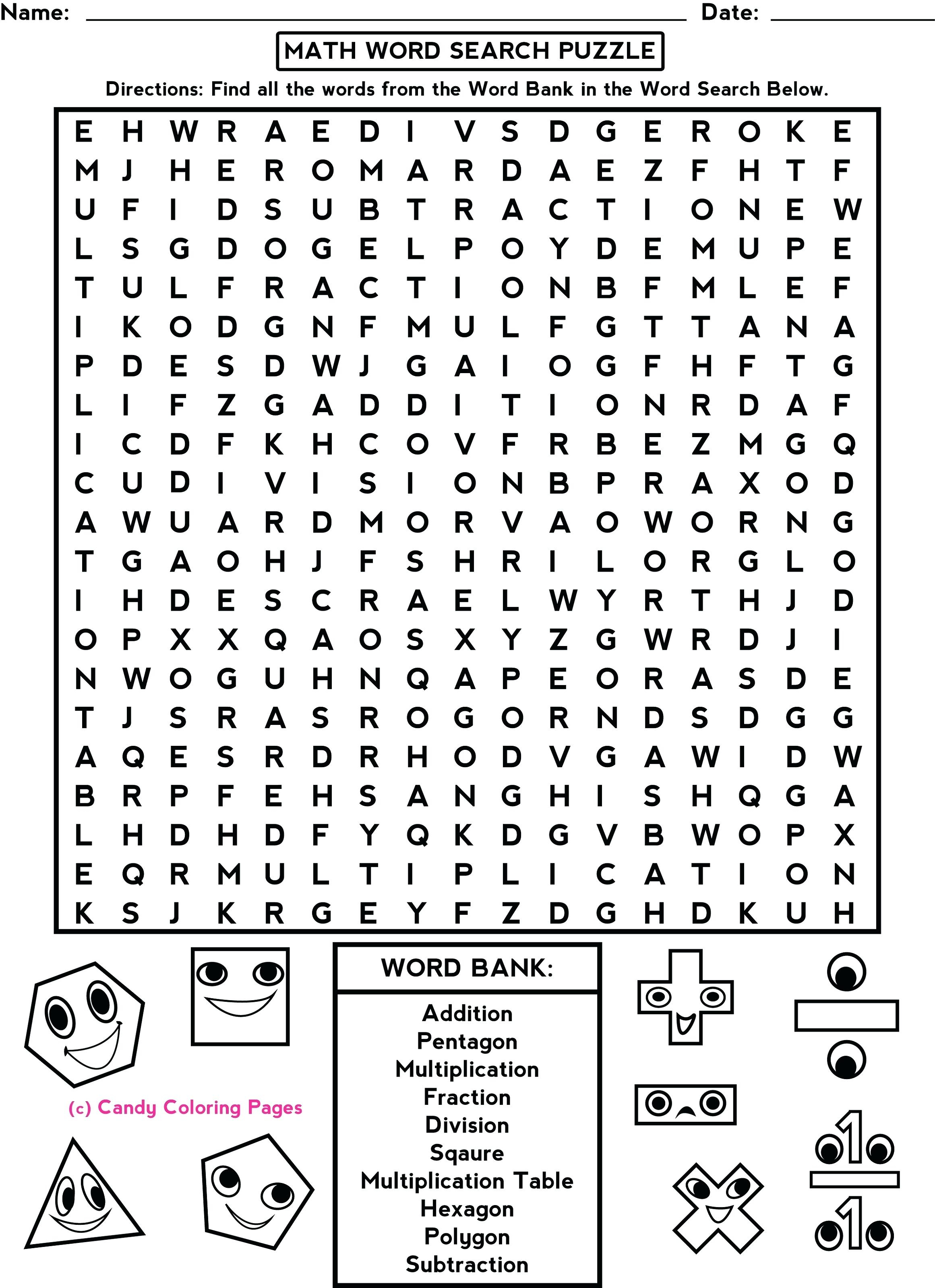 4th Grade Math Puzzles Fun Worksheets For Middle School
