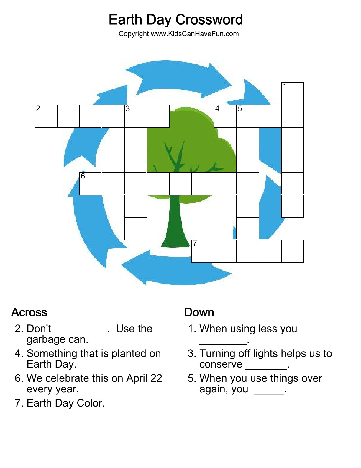 The Best Earth Day Crossword Puzzle Printable
