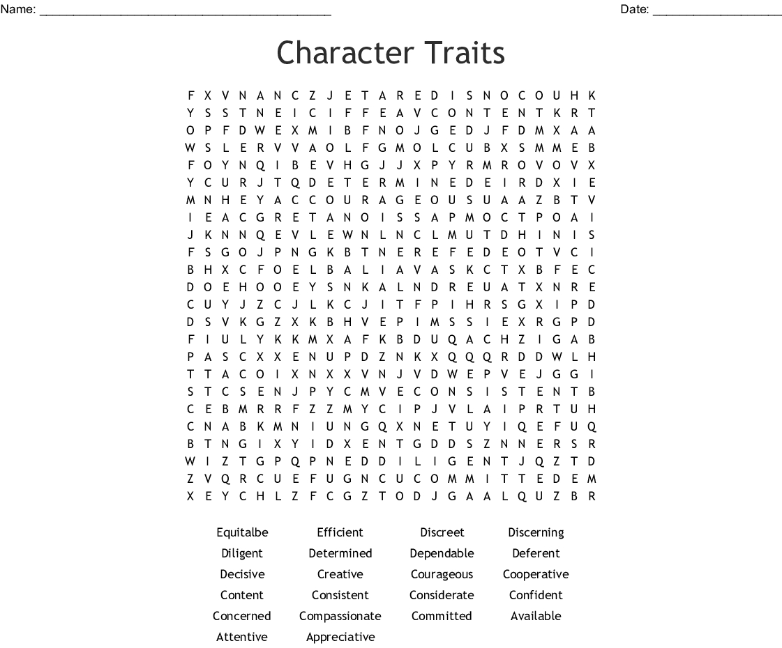 Printable Character Traits Crossword Puzzle